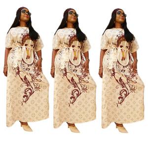 Diseño de lujo de las mujeres del vestido de la manga del O-cuello corto vestidos maxi con la correa impresa letra de una sola pieza de la falda larga floja de vestir trajes de otoño