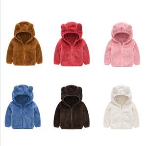 1-5years Baby Fashion Casual Zipper Жакеты 6 цветов Детская Unisex Мягкий флис с капюшоном Outwear мальчиков и девочек Зимняя одежда
