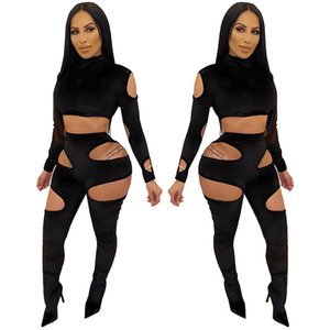 Womens Two Piece Sets 2020 Tracksuit Hollow Sexy Bodycon Clubwear Outfit Plus Size Women Sexy Playsuits Long Sleeve Crop Top and Pants