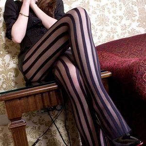 Sexy Preto Vertical Striped calças justas Punk gótico Stripe Tights Mulheres Temptation Sheer Suspender Pantyhose