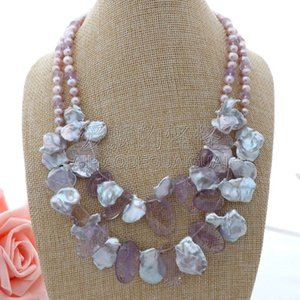 """Collana da donna in pietra con perle Keshi viola 18 """"2 fili"""