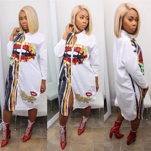 زائد الحجم المرأة الأفريقية Dashiki الترتر طباعة الفم الكبير موضة اللباس عارضة بازين ريشي الصيف فضفاض أزرار T200630 قميص طويل