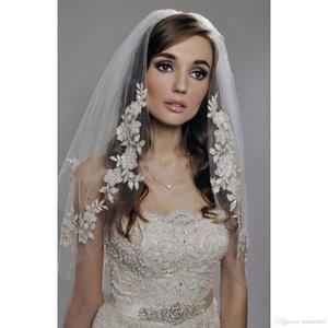 2019 New arrival white Fashion One-layer Appliqued soft Gauze wedding Bridal Veils Cheap Bridal Accessories size 0.7*0.8 M
