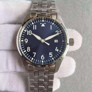 2020 Новый пилот автоматические Дата Мужские часы MARK 40мм синий и черный циферблат из нержавеющей стали ремешок спортивные мужские механические часы