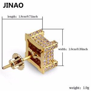 Jinao Out Stud Stud New Bling Iced Hip C19041101 Hop Pendientes Color de oro Pave Cubic Micro Zircon Fashion Stud Pendiente para Hombres Mujeres Plaza Nuuv