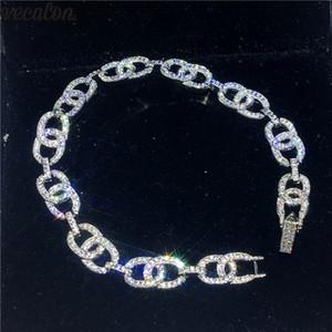 Vecalon Hiphop 체인 브레이슬릿 패브릭 세팅 다이아몬드 화이트 골드로 가득한 결혼식 여성용 남성용 팔찌 Party Jewelry