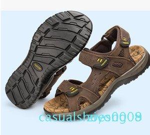 2017 sandali di estate faashion Gli uomini del cuoio genuino scarpe basse Pantofole Beach Walking casual Z08 Mens Shoessmileseller
