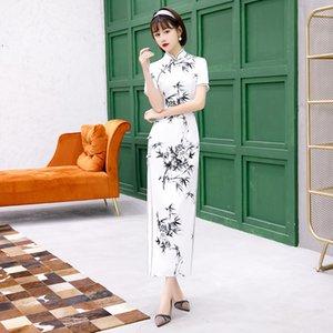 플러스 사이즈 4XL 중국 스타일의 잉크 페인팅 대나무 꽃은 여성 우아한 실크 치파오 새틴 드레스 여성 매일 중국어 Qipao 인쇄하기