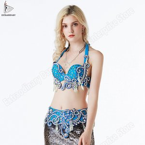Oriental Bra Hip Scarf Belly Dance Costume Carnival Women Bellydance Beaded Shinning Rhinestones Bra Belt 2 Pcs Eastern Outfits