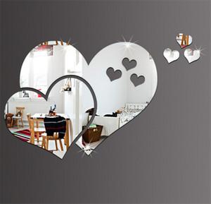 Forma Espejo de acrílico pegatinas de pared creativo 3D del corazón pegatinas de pared Espejo de habitaciones DIY decorativo de la etiqueta del corazón Espejos