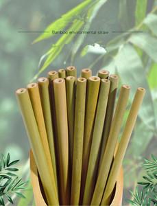 Paja de bambú natural Paja reutilizable Pajitas de bambú orgánicas de 8 pulgadas Pajitas de madera natural para fiesta de cumpleaños Herramienta de barra de boda con Cle