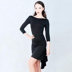Тонкий Latin платье Black Mid-Sleeve Salsa Tango Rumba Практика Dance одежда Бальные Самба Ча Performance Танцы Outfit