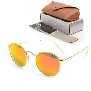 Neue 3447 Runde Sonnenbrille Marke Herren Brille Designer Eyewear Glass Objektiv für Womens Sonnenbrille Spiegel UV-Schutzbrille mit Kastenkasten