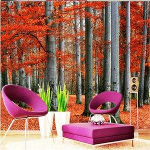 beibehang Custom photo wallpaper 3D stereoscopic Woods leaves 3d modern for living room murals Home Decoration papel de parede