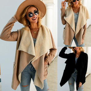 2019 Yeni Kış Moda Kadın Coat Patchwork Bayan Uzun Kollu Yaka Boyun Dış Giyim Yün Ceket Kadın Coats WINDBREAKER Hızlı Kargo Güz