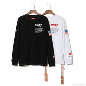 NASA X Heron Tasarımcı T Shirt Beyaz Kapalı Yapraklar Pamuk Hip Hop Crewneck Lüks Klasik Moda Turtleneck Uzun Kollu Tişört Erkekler Bezi