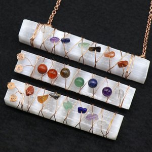 Reiki Healing Chakra Crystal Stone Pendant Necklaces Wire Wrap Raw Mineral Big Natural Selenite Stick Yoga Necklaces Balancing