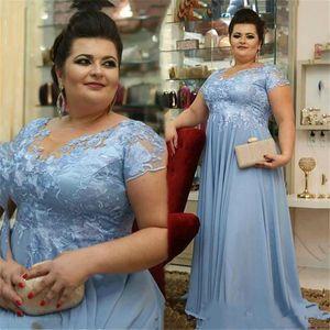 Plus Size Spitze Appliqued Chiffon- eine Linie Mutter der Braut-Kleider mit kurzen Ärmeln Empire-Taille Arabisch Mutter Kleider