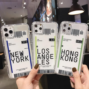 Ticket Air 100pcs Phone Case criativa Hong Kong Los Angeles New York Soft Case para Iphone 7 8 Xr Xs 11 Pro Max Plus escudo protetor