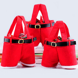 Buon regalo di Natale Candy Bag vino Bottiglia Babbo Natale bretella dei pantaloni Decor regalo di Natale Candy portatile Wrap ZZA1442-5