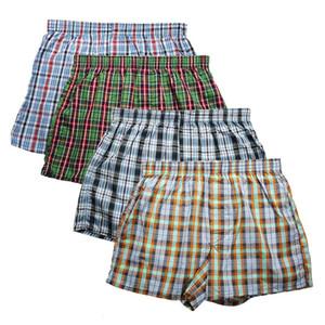 Boxer Shorts tecido de algodão de alta qualidade Marca Men 4-Pack 100% clássico da manta Penteado masculino Underpant solta respirável Oversize