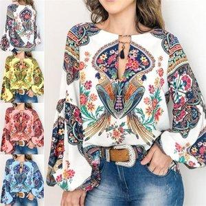 Mujeres camiseta de la manera del estilo bohemio de la blusa de la linterna del o-cuello camisas Tops causal suelta blusas suéter femenino Blusas sobre el tema