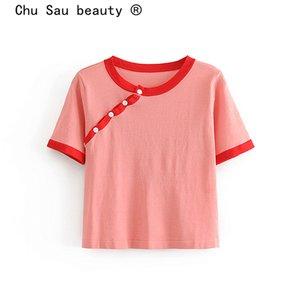 Chu Sau beauty Sweet Chic Vintage Contrast Top Donna Maglione monopetto corto stile cinese Abiti da donna