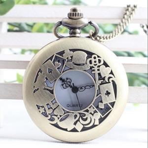 이상한 나라의 앨리스 Quartz Pocket Watch 체인 목걸이 펜던트 키 래빗 빈티지 시계 Steampunk 선물 reloj de bolsillo