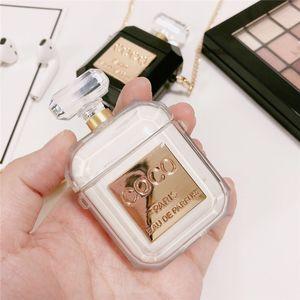 Venta caliente Caso botella de perfume Ins para Apple Airpods auriculares de silicona cubiertas protectoras botella de aire vainas de moda olor con cadena de metal A53002