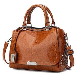 Bolsa ACELURE manera de la vendimia del remache de cuero de la PU Boston monedero de los bolsos de las mujeres bolsos del mensajero del hombro de la bolsa de asas femenina