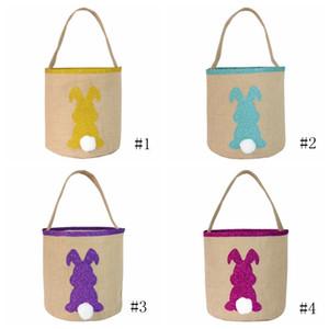Пасхальный Bucket кролик хвост корзины Дети Конфеты Подарки Barrel Фестиваль партии Леденцы Easter Eggs сумки хранения Totes Ведро EEA1226-4