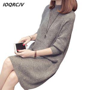 IOQRCJV Turtleneck Sweater Dress 2018 Mulheres Moda Outono Inverno malha capuz Camisolas Long Sleeve Jumper Pull Femme S184