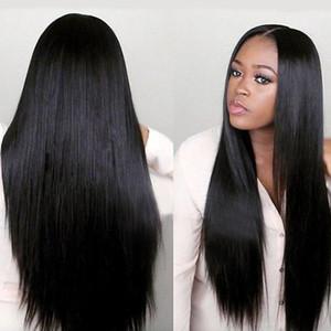 Kadın uzun düz saçları uzun simülasyon saç Siyah Sarışın siyah bölünmüş Afrika'nın peruk kimyasal lif başlık