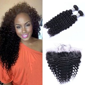Malaysian Virgin Hair Deep Wave Bundles with Frontal 2 Bundles Human Hair Weave with 13x4 Lace Frontal Closure