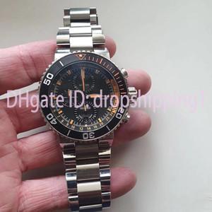 Dropshipping1- Negócios assistir completos de aço inoxidável Japão mens movimento cronógrafo mergulhador assistir 5ATM impermeável Luminous montre de luxe
