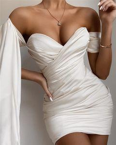 Роскошные Плиссированные Женские Платья Bodycon Sexy Deep V Образным Вырезом Платье Зашнуровать Рукав Сплошной Цвет Повседневные Платья Женская Одежда