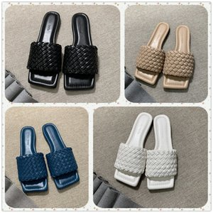 2020 deslizadores de las mujeres de diseño cuadrado mulas zapatos de piel de cordero napa plantillas zapatos de mujer sandalias LIDO lujo de la señora sandalias planas de alta calidad