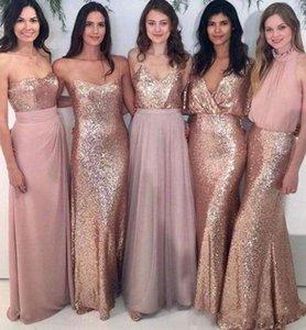 2019 Ucuz 5 Stilleri Gül Tanrı Sequins Gelinlik Modelleri Mermaid Allık Pembe Uzun Hizmetçi Onur Elbise Düğün Konuk Parti Abiye Custom Made