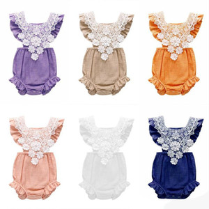 Baby Summer Onesies Bébé Filles Sans Manches En Dentelle Combinaison Enfant En Dentelle Body Enfants Designer Vêtements Infant D'été Cool Combinaisons