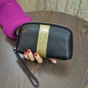 Long Women Wallet Genuine Leather Wristlet Bag Large Capacity Day Clutch Zipper Mobile Phone Bag Women Purse Bags