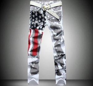 Hot Mens Denim American Flag nuovo modo di disegno Maschio Jeans slim fit maschile Pant