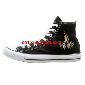 Женщины Мужчины Повседневная Daily Mercury Повседневная обувь и Его Кошки Freddie Печать Hightop Плоский Холст обувь Мода кроссовки Плюс