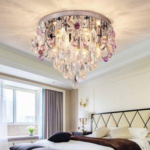 كريستال الثريا الإضاءة الكريستال الفاخر الجولة الثريا رائع بقيادة مصباح السقف ثريات أضواء للشرفة غرفة النوم