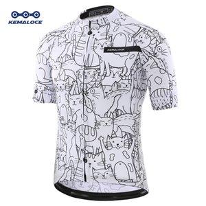 Desgaste de ciclo del gato transpirable blanco unisex de dibujos animados Jersey primavera Anti-Pilling Ecológico ropa de la bici del camino de la bicicleta del equipo camisas