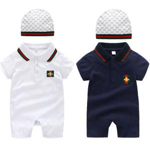 Nouvel été mignon nouveau-né vêtements ensemble bébé coton barboteuses + chapeau 2 Pcs tenue mode bébé garçon fille vêtements ensemble