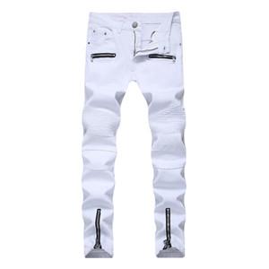 Men Jeans Moda delgado recto apto casuales pantalones para hombre blancas Jean estiramiento estilo etapa del club nocturno flacos del dril de algodón pantalones vaqueros del motorista