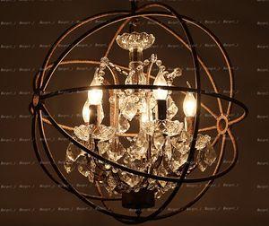 2019 국가 하드웨어 빈티지 오브 크리스탈 샹들리에 조명 RH 소박한 철 캔들 샹들리에 빛 글로브 LED 펜던트 램프 홈 장식