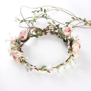Einstellbare Blume Krone Rose Halo BOHO Stirnbänder für Frauen Mädchen Hochzeit Festival Mutterschaft Bilder Kopf Garland Haar Kranz 3 Arten