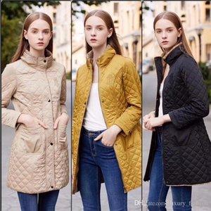 NUOVO CALDO! di modo delle donne / alta qualità di disegno logo cappotto casuale Inghilterra centrale cotone lungo cappotto imbottito per il formato delle donne S-XXL B1976F290