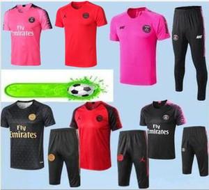 2019 nuovo psg calcio survêtement psg manica corta 3/4 pantaloni tuta chandal psg training kit maglia calcio mbappe chandal set